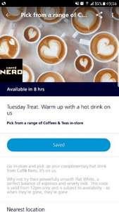 Free hot drink from Cafe Nero with o2 Priority