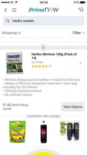 2.1kg Haribo Minions for £1 on Amazon Prime Now App (£20 minimum spend)