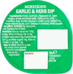 Morrisons Garlic and Herb Pizza Dipping Sauce 30g was 90p now 3 for a £1 plus mix and match @ Morrisons