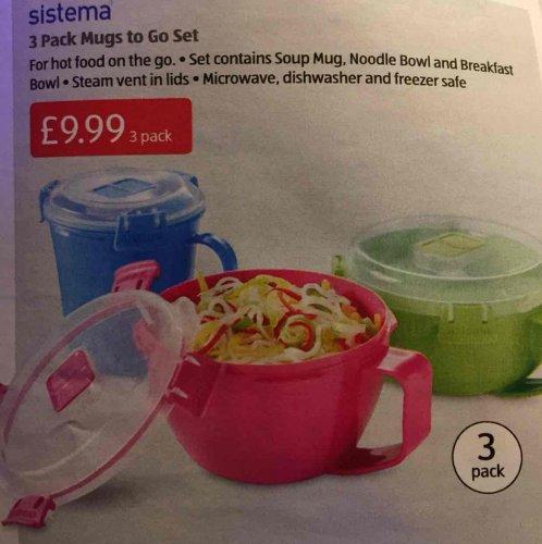 Sistema 3 pack mugs to go £9.99 @ Aldi