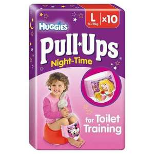 Huggies Pull-Ups Night-Time Large Girls 16-23kg Potty Training Pants 10 per pack £2.00 - Asda