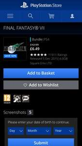 Final Fantasy 7 ps4 version £6.49 PSN
