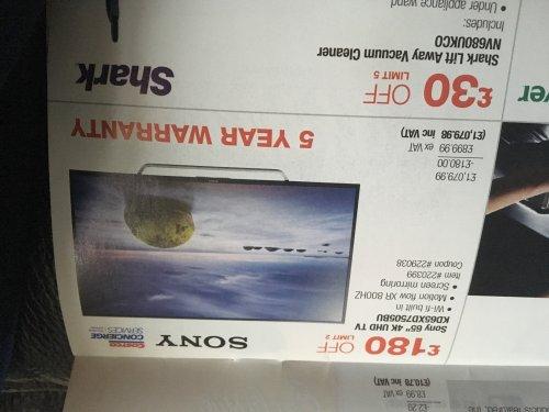 Sony 65xd7505 4k 5 year costco warranty £1079.98 @ costco instore offer