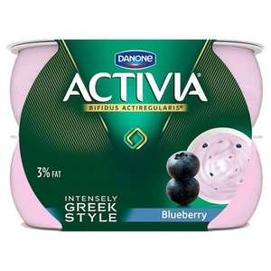Activia Intensely Creamy Blueberry Yoghurts 4 x 110g £1 @ Morrisons were £2.25. Also peach, vanilla, strawberry and raspberry.