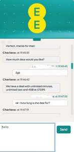EE retention deal via online chat - unlimited minutes / texts / 4gb data / sim only - £10.99pm - total deal: £131.88