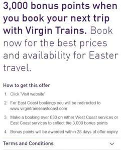 3000 Nectar points on >£30 Virgin train spend - East AND West Coast Lines!