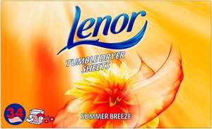 Lenor Tumble Dryer Sheets Summer Breeze 34 Pack was £3.00 now £2.00 @ Tesco