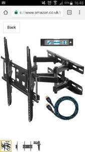 "Dual Articulating Arm TV Wall Mount Bracket for 20-65"" TVs including a Twisted Veins 10' (m 3) HDMI Cable and a 6"" (cm 15) 3-Axis Magnetic Bubble Level for £18.96 prime / £23.71 non prime Sold by SPN Imports and Services LLC and Fulfilled by Amazon"