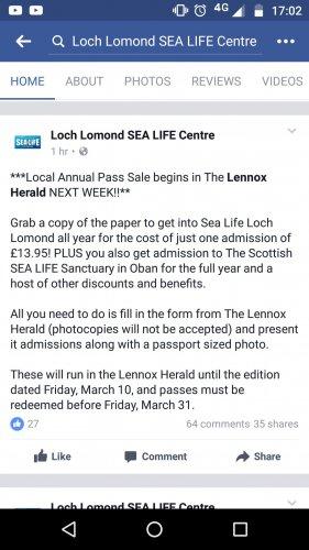 Sea Life Loch Lomond local annual pass - £13.95 + local paper