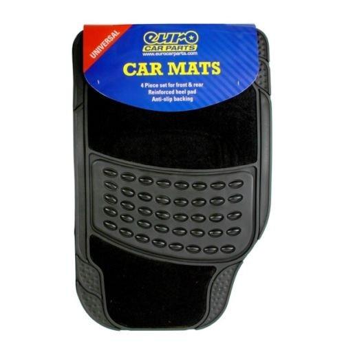 Heavy Duty 4 Piece Black Rubber Car Mat Black Carpet Centre Set Of 4 @ EBAY / CarParts4Less-Store