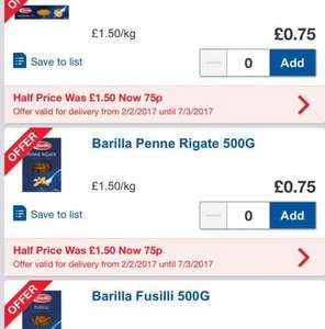 Barilla Italian Pasta was £1.50 now £0.75  for 500g boxes in Tesco