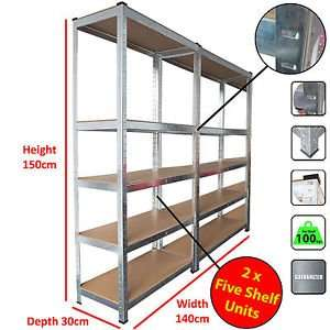 2 Bays 5 Tier Heavy Duty Boltless Metal Steel Shelving £34.99 delivered fast&free @ebay - busters-2009