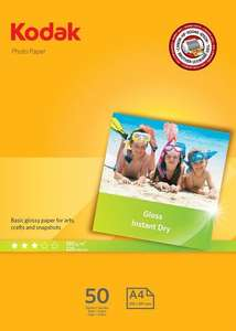 Kodak Photo Glossy A4 180 GSM Paper - 50 Sheet Pack £4.25 Prime / £9 Non Prime @ Amazon