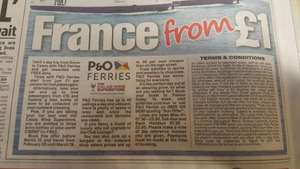 France from £1 Dover to Calais +plus+ 3 free bottles of wine @ P&O Ferries
