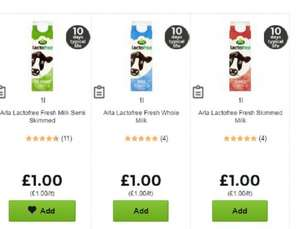 Arla Lactofree Milk 1L (Whole/Semi skimmed/ Fresh skimmed) £1.00 @ Asda. Online and Instore