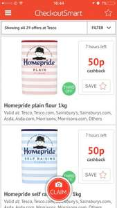Homepride self raising and plain flour 50p each after 50p checkoutsmart cashback at Tesco *up to three redemptions