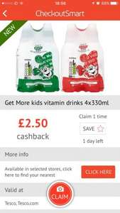 Kids vitamin D Mango drinks [4 pack] 19p after £2.50 ClickSnap and/or checkoutsmart instore at Tesco
