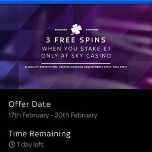 3 Free Spins @ Sky Casino with a £1 stake