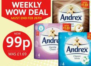 Andrex 4 pack just 99p @ poundstretcher