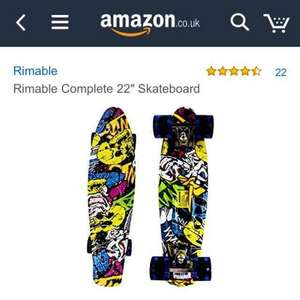 "Rimable Complete 22"" Skateboard/Penny board £19.99 prime / £25.74 non prime Sold by MULTIBOARD and Fulfilled by Amazon"