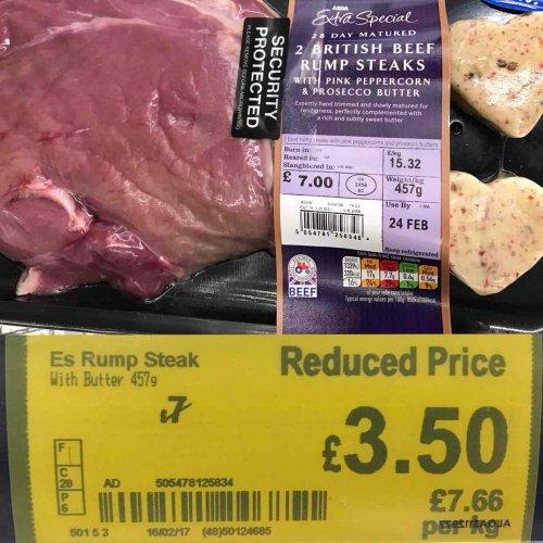 Asda E.S. Rump Steak x2 Half Price £3.50