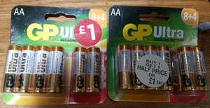 GP ULTRA AA batteries 12 for £1...24 for £1.50 intsore WHSMITH...seen in Slough