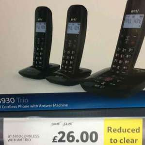 bt trio cordless phone for £26 instore @ Tesco