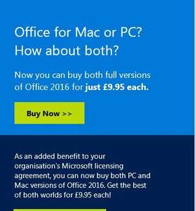 Microsoft office 2016 £9.95 at MS Store (avail to certain employees)