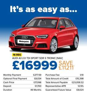 motorpoint audi a3 2.0 tdi sport 5dr s-tronic auto deals from £16999.00 (pre-owned) @ Motorpoint