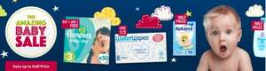 Baby sale BOGOF on Pampers, Half price Cow & Gate baby food jars was 65p now 32p, 9 pack Water wipes was £19.99 now £13.32 plus possible £20 off £80 spend & free delivery @ Ocado