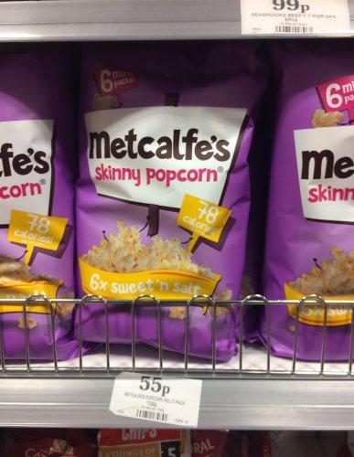 Metcalfe's Sweet 'n' Salt Skinny Popcorn 6 pack for 55p @ Home Bargains