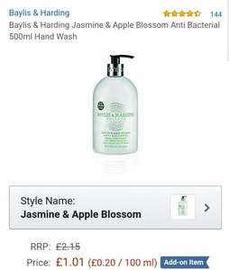 Baylis & Harding Jasmine & Apple Blossom Anti Bacterial 500ml Hand Wash  £1.01 @ Amazon add on item