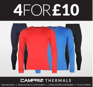 Campri base layer deal 4 items for £10 + delivery @ sports direct