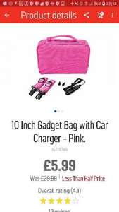 10 Inch Gadget Bag with Car Charger Pink £5.99 @ Argos