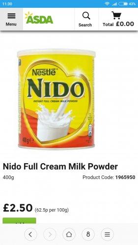 Nido milk powder 400g down to £2.50 at Asda