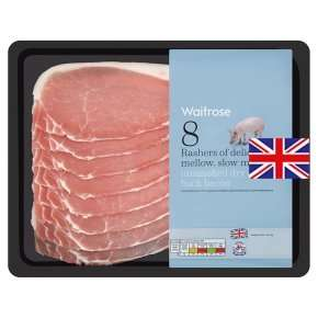 Waitrose Smoked/unsmoked British Back Bacon was £3.49 now £2.32 or £1.86 with PYO  (250g)