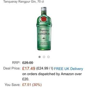 Tanqueray Rangpur gin 70cl was £25 now £17.49 prime / £22.24 non prime @ Amazon