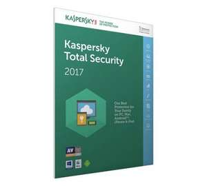 Kaspersky Total Security 2017 - 5 Devices, 1 Year License £29.99 @ Argos (Free C&C)