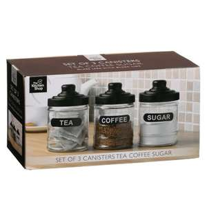 Tea, Coffee and Sugar Glass Storage Jars Set £1 @ B&M Instore