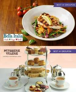 Bella Italia - Two-course meal for two £15.30 or Four £30.60 / Afternoon tea for two - Patisserie Valerie £16.15 @ Groupon (using new customer code)
