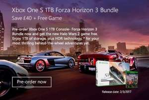 Pre-order XBOX One S 1TB Forza Horizon 3 Bundle and get Halo Wars 2 FREE + Free Delivery £259.99 @ Microsoft