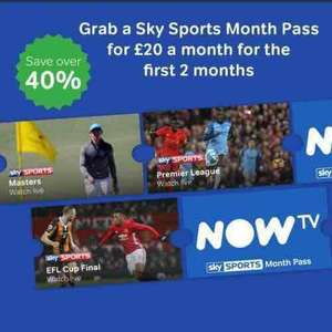 Now Tv Sky Sports 2 month offer £20 per month -new customers