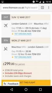 Flights to Mauritius £299 @ Thomson