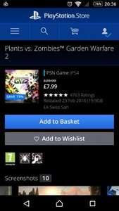 Plants Vs Zombies Garden Warfare 2 PS4 £7.99 @ PS Store UK