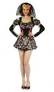 Women's Day Of The Dead Darling Costume - 3 piece Size 12 now £2.99