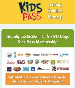 Bounty Exclusive - £1 for 90 Days Kids Pass Membership