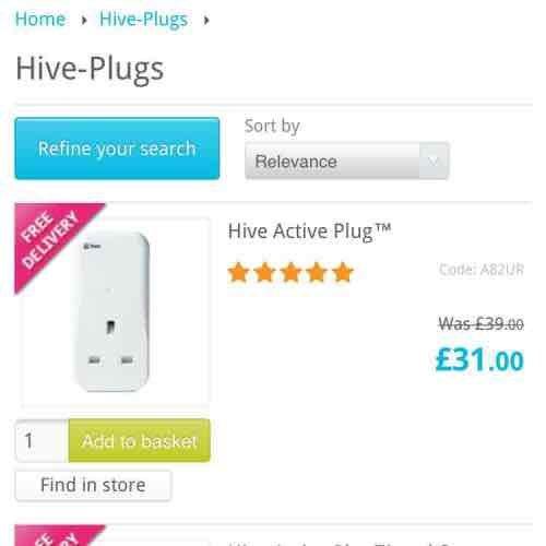 Hive Active Plugs £31 @ Maplin