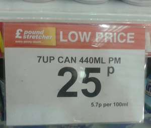 440ml 7Up Cans 25p @ Poundstretcher