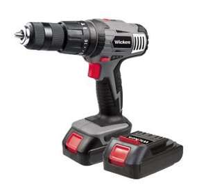 Wickes 18v li-ion Cordless Combi Hammer Drill with 2 Batteries half price £49.99, add something for 1p plus aand use CODE 10 to get £10 off your order and free delivery (drill comes in at nearer £40 depending on what you add)