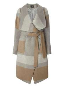 Womens Grey Striped waterfall coat- Grey £17.00 @ dorothyperkins